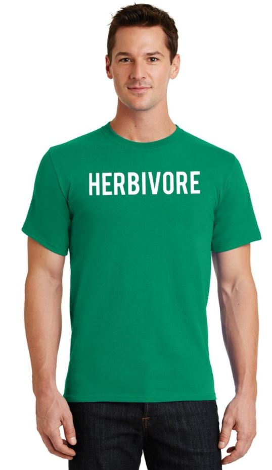 Men's Herbivore Crew Neck Animal Vegan Food Kelly Green T-Shirt Tee
