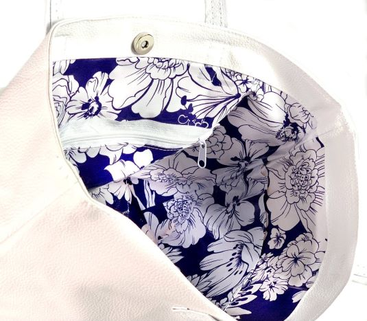 Women's / Ladies' White / White & Blue Wildflowers Handmade Vegan Faux Leather Tote Shoulder Handbag / Purse!