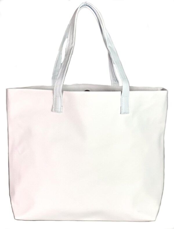 Women's / Ladies' White Handmade Vegan Faux Leather Tote Shoulder Handbag / Purse!