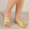 Women's Gold Handmade Vegan Slip-on Flats Summer Slide Sandals