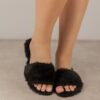 Women's / Ladies' Black Handmade Winter Comfy Indoor Vegan Faux Fur Flat Slides / Slippers with Faux Leather Insoles. Available in 15 Sizes (US women)