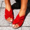 Women's Red Handmade Vegan Slip-on Flats Summer Slide Sandals