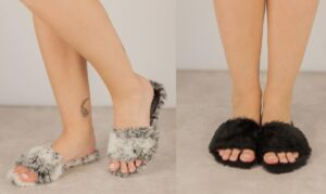 Women's Handmade Winter Vegan Faux Fur Flat Slides / Slippers