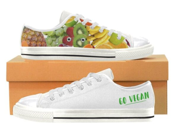 Women's / Ladies' Go Vegan Fruit Handmade Canvas Rubber Tennis Shoe Sneakers / Trainers. Good Choice For Your Vegan Activities, as Casual Shoes or For Walking, Jogging, and Running.