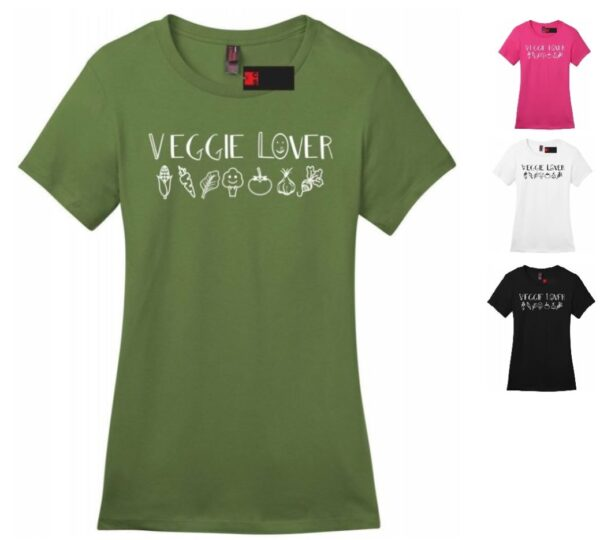 Veggie Lover Women's Crew Neck & V-neck Vegan Casual Soft Regular Fit Short Sleeve Food Graphic T-shirt Tee for Ladies & College Girls'