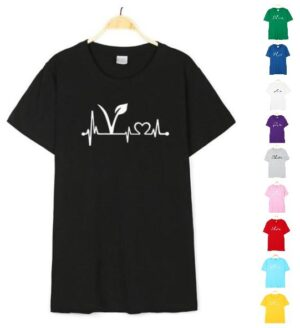 Vegan Heartbeat Lifeline Women's Cotton T-Shirt 10 colors & 6 sizes