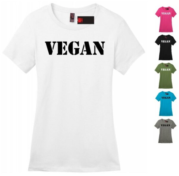 Women's Vegan T-Shirt Tee with 6 Colors & 5 Sizes. This Crew Neck Soft Cotton Casual Regular Fit Short Sleeve Graphical Text Tee is Ideal for Ladies, College Girls' or as a Gift!