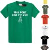 "Men's Crew Neck & V-Neck ""Please Don't Kill My Vibe"" Casual Regular Fit Short Sleeve Funny Vegan Food T-Shirt Tee with ""Peas Don't Kale My Vibe"" Text"