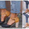 Women's / Ladies' Handmade Vegan Faux Suede / Leather Round-toe T-strap Chunky / Block High Heel Casual Contrasting Pumps. Good Choice for Your Casual Outings! Available in Black, Blue, Gray and 9 Sizes