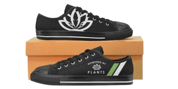 "Women's / Ladies' ""Powered by Plants"" Vegan Handmade Canvas Rubber Tennis Shoe Sneakers / Trainers. Good Choice For Your Vegan Activities, as Casual Shoes or For Walking, Jogging, and Running."