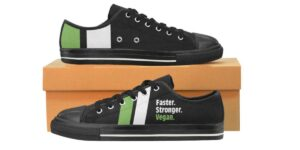 "Women's ""Faster, Stronger, Vegan"" Handmade Canvas Rubber Tennis Shoe Sneakers"