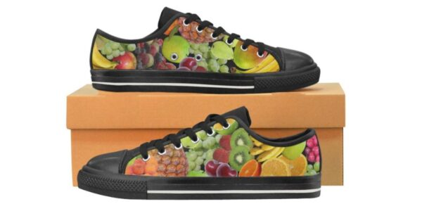Women's Multicolored Fruits Vegan Shoes. They're Handmade Canvas Rubber Tennis Shoe Sneakers / Trainers.