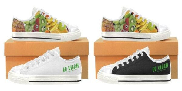 "Women's ""Go Vegan"" Fruit Shoes. They're Handmade Canvas Rubber Tennis Shoe Sneakers / Trainers"