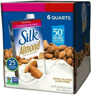 Silk Almond Milk (4 flavors), Unsweetened Original/Unsweetened Vanilla/Pure Almond Vanilla/Dark Chocolate, Vegan, Plant-based, Dairy-free, Shelf-Stable Milk 32oz (pack of 6)