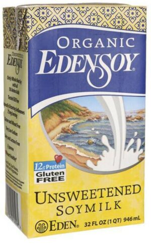 Eden Foods Certified Organic Edensoy Soy Milk (3 flavors), Unsweetened, Original, Extra Original, Vegan, Plant-based, Dairy-free, Shelf-stable 32oz (single carton & packs of 2,4,6 and 8)