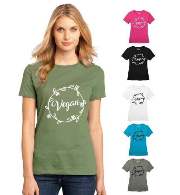 Women's Floral Vegan Flowers Crew Neck Soft Cotton Casual Regular Fit Short Sleeve Graphical Text Gift T-Shirt Tee in Green, Black, White, Pink, Turquoise Blue, Gray