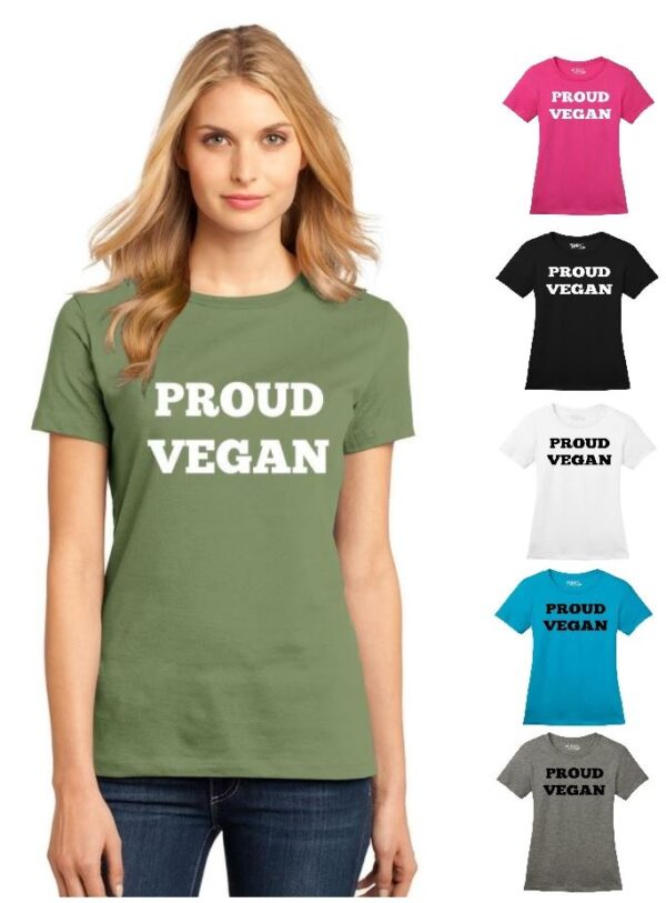 Women's Proud Vegan Crew Neck Soft Cotton Casual Regular Fit Short Sleeve Graphical Text Gift T-Shirt Tee in Green, Black, White, Pink, Turquoise Blue, Gray
