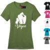 Women's Vegan Gorilla Crew Neck Soft Cotton Casual Regular Fit Short Sleeve Graphical Text Gift T-Shirt Tee in Green, Black, White, Pink, Turquoise Blue, Gray