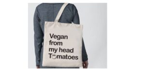 Vegan From My Head Tomatoes Handmade Eco-friendly Cotton Tote Bag