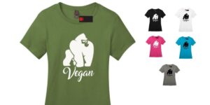Women's Vegan Gorilla Cotton Crew Neck T-shirt