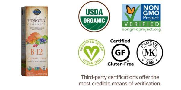 Garden of Life Vegan Vitamin B12 Flavored Spray - mykind Organic Whole Food B-12 Methylcobalamin (methyl) 500 mcg